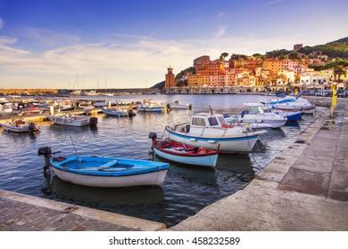 Elba island, Rio Marina village bay. Marina, boats and lighthouse. Tuscany, Italy, Europe.