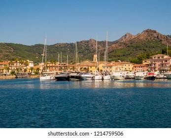 ELBA, ITALY - AUGUST 2, 2018: View of Porto Azzurro on the Elba Island.