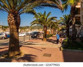 ELBA, ITALY - AUGUST 2, 2018: View of the town of Porto Azzurro on the Elba Island.