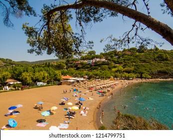 ELBA, ITALY - AUGUST 2, 2018: View of Barbarossa Beach on the Elba Island.