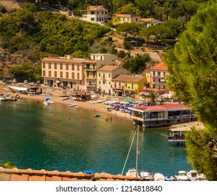 ELBA, ITALY - AUGUST 2, 2018: View of Porto Azzurro, Elba Island.