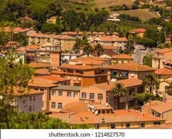 ELBA, ITALY - AUGUST 2, 2018: Houses in Porto Azzurro, Elba Island.