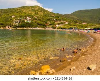 ELBA, ITALY - AUGUST 2, 2018: View of Nisporto Beach on the Elba Island.