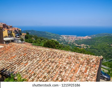 ELBA, ITALY - JULY 31, 2018: View of the town of Marciana on the Elba Island.
