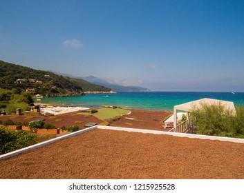 ELBA, ITALY - JULY 31, 2018: View of Biodola Beach (Italian: Spiaggia della Biodola) on the Elba Island,