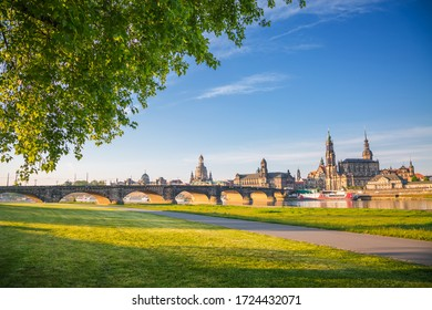 Elbe embankment overlooking the famous Catholic Hofkirche and palace Georgenbau. Location place of Dresden, Saxony land, Germany, Europe. Popular tourist attraction. Discover the beauty of earth.