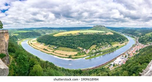 The Elbe River loop in Saxony