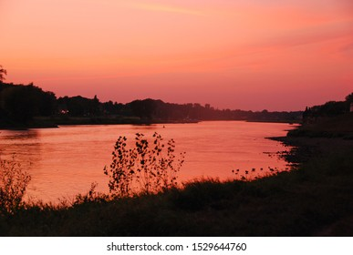 The Elbe River at sunset, Dresden Germany Deutschland
