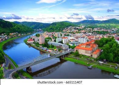 Elbe river in the surroundigs of Decin, Usti nad Labem region, Czech Republic.