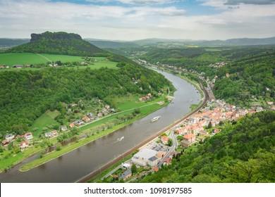 Elbe river top view from Koenigstein castle, Saxon Switzerland, Germany