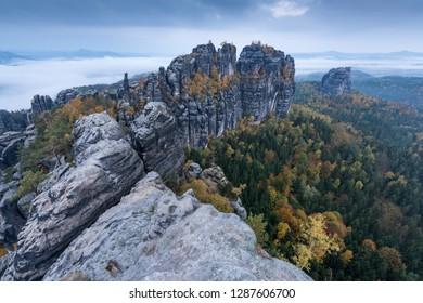 Elbe Sandstone Mountains in autumn