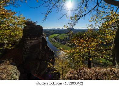 The Elbe valley in Saxon Switzerland (Saechsische Schweiz). Germany.
