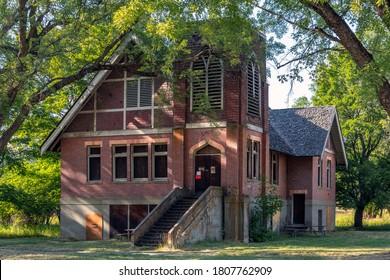 Elberton, Washington USA - August 24 2020: The abandoned United Brethren Church in the historic ghost town of Elberton, Washington.