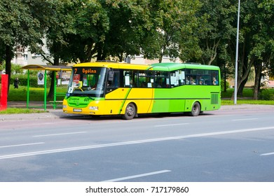 Elblag, Poland - September 9, 2017: Bus with number 7 in the city center of Elblag.