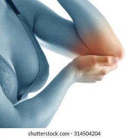 Elbow pain. Beautiful female holding her elbow. Pain concept. close up