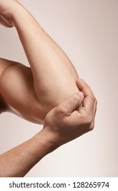 Elbow pain injury on adult man