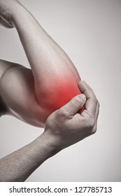 Elbow pain isolated injury concept