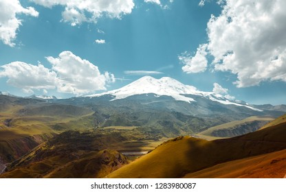Elbrus Mount And Green Hills At Summer Dayr. Elbrus Region, Northen Caucasus, Russia