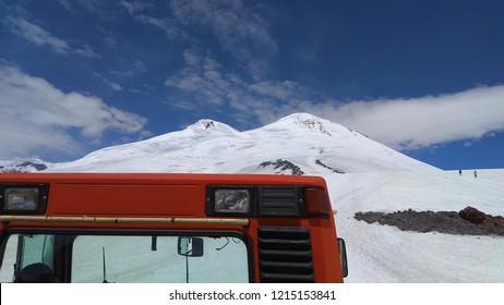 Elbrus peaks. View from snowcat