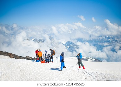 ELBRUS, RUSSIA - July 05: Climbers on the snow slope of Mount Elbrus in July 05, 2015 in Elbrus, Russia