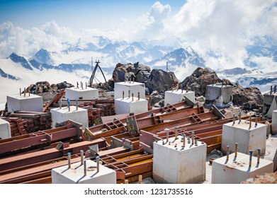 ELBRUS, RUSSIA - July 05: Metal piles and concrete cubes on the slope of Mount Elbrus in July 05, 2015 in Elbrus, Russia