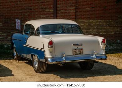 """ELBURN, IL/USA - JULY 24, 2018: This classic Chevrolet Bel Air seems ready to roll near a production set (off camera) for """"Lovecraft Country,"""" a 1950s-era dramatic horror TV pilot to be aired on HBO."""