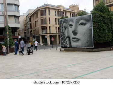 """Elche, Alicante, Spain; on October 24, 2015: A square where there is a street mosaic with the image of the Spanish Iberian sculpture that is called by neighbours in the city as """"the lady of Elche"""""""
