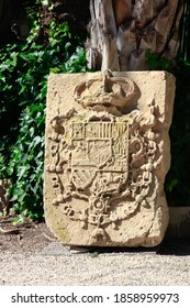 Elche, Spain; 10/03/2019: ancient coat of arms carved in stone