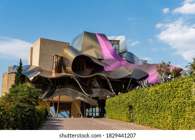 Elciego, Spain - 6 August 2020: Winery of Marques de Riscal in Alava, Basque Country. The futuristic building and luxury hotel was designed by famous architect Frank Gehry