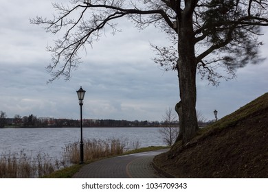 Elckie lake at cloudy day in Elk, Masuria, Poland