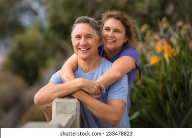 Elder couple looking at the horizon