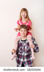Elder happy brother and sister together forever getting fun studio