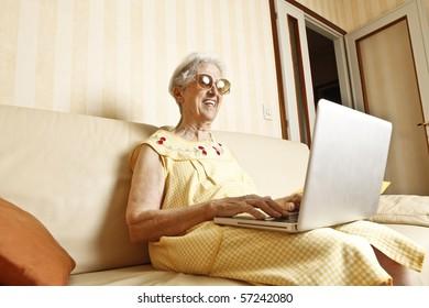 elder lady with laptop