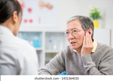 elder patient see an ent doctor and complain about earaches