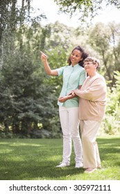 Elder woman and nurse strolling in the park