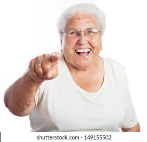 elder woman pointing on a white background