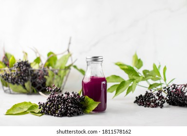 Elderberry syrup in a bottle, front view of ready to take-in syrup with raw ripe elderberries