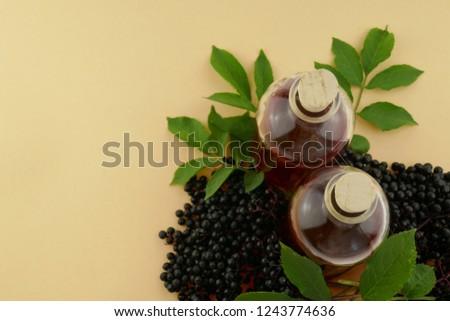 f55b333f0456 Elderberry Syrup Tincture Elderberry Berries Glass Bottle Stock ...