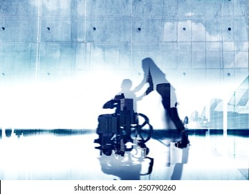Eldercare City Life Disabled Support Help Healthcare Concept
