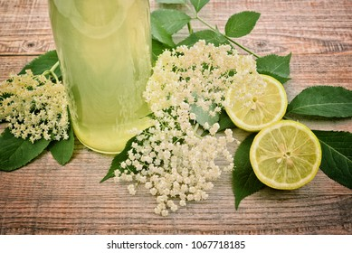 Elderflower champagne. Lemonade  from elder flower syrup. Refreshing sambucus juice.