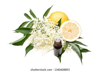 Elderflower, elderflower oil with lemon and leaves isolated