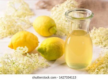 Elderflower syrup in a glass