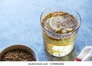 Elderflower Syrup with Lemon and Dried Elderberries. Organic Beverage.