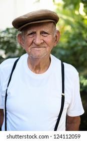 Elderly 80 plus year old man outdoor portrait.