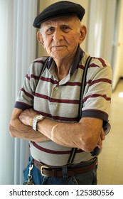 Elderly 80 plus year old man portrait.