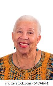 Elderly African American woman smiling from a pleasant surprise