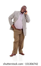 elderly african man talking on mobile phone isolated on white