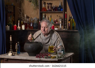 elderly alchemist monk brews  magic potion