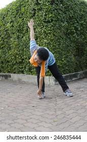 Elderly Asian Exercise in the park