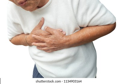Elderly asian woman with chest pain with heart attack isolated on white background